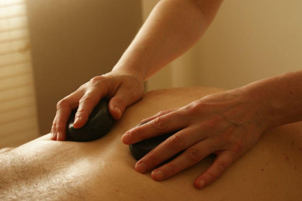 back being massaged